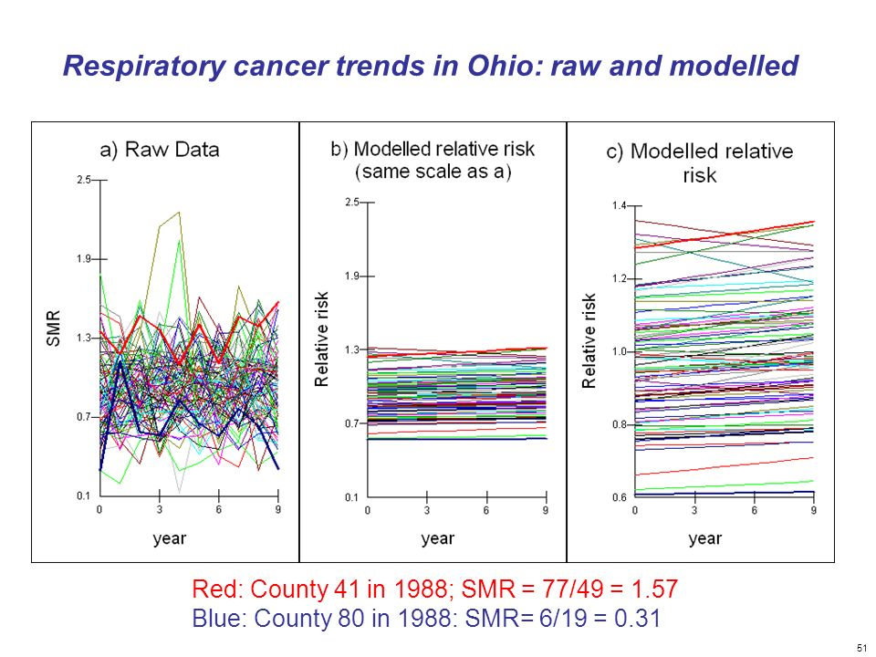51 Respiratory cancer trends in Ohio: raw and modelled Red: County 41 in 1988; SMR = 77/49 = 1.57 Blue: County 80 in 1988: SMR= 6/19 = 0.31