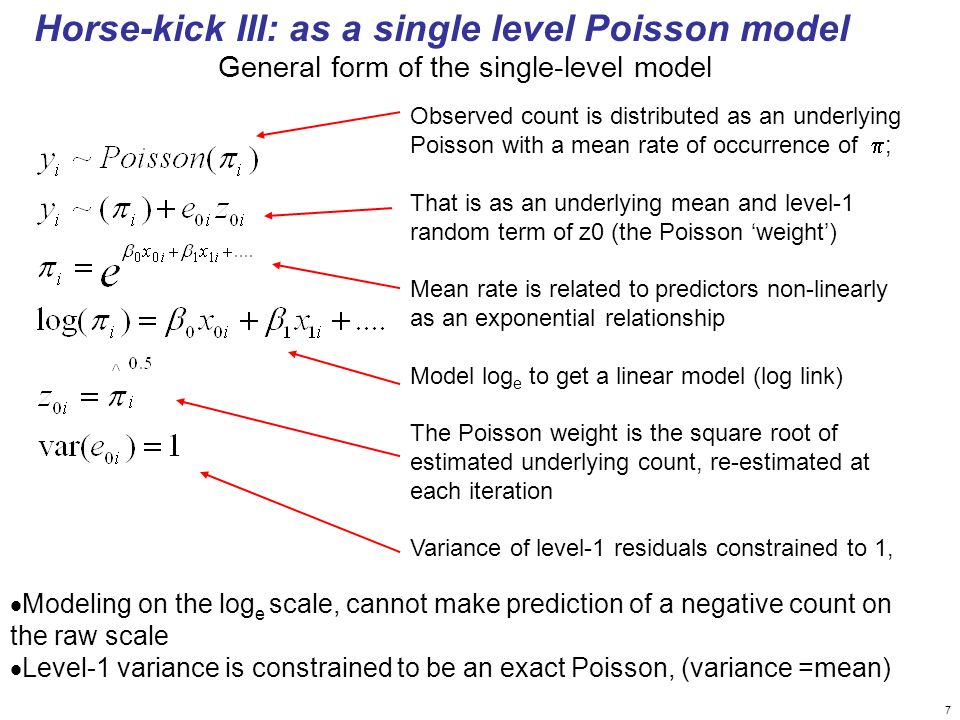 7 Horse-kick III: as a single level Poisson model Modeling on the log e scale, cannot make prediction of a negative count on the raw scale Level-1 var