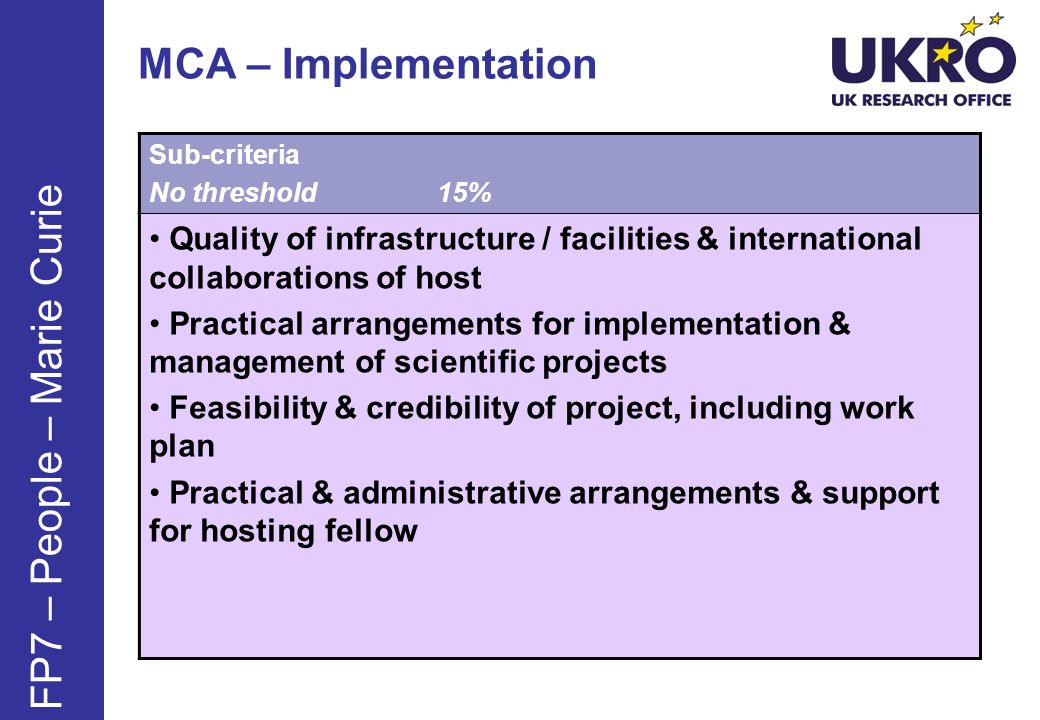MCA – Implementation Sub-criteria No threshold15% Quality of infrastructure / facilities & international collaborations of host Practical arrangements for implementation & management of scientific projects Feasibility & credibility of project, including work plan Practical & administrative arrangements & support for hosting fellow FP7 – People – Marie Curie