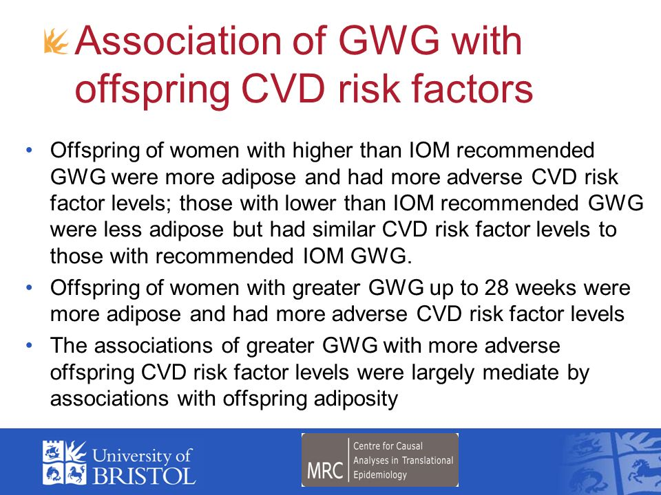 Offspring of women with higher than IOM recommended GWG were more adipose and had more adverse CVD risk factor levels; those with lower than IOM recom