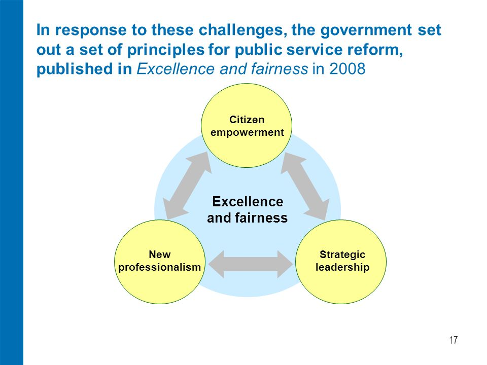 17 In response to these challenges, the government set out a set of principles for public service reform, published in Excellence and fairness in 2008 Citizen empowerment New professionalism Strategic leadership Excellence and fairness