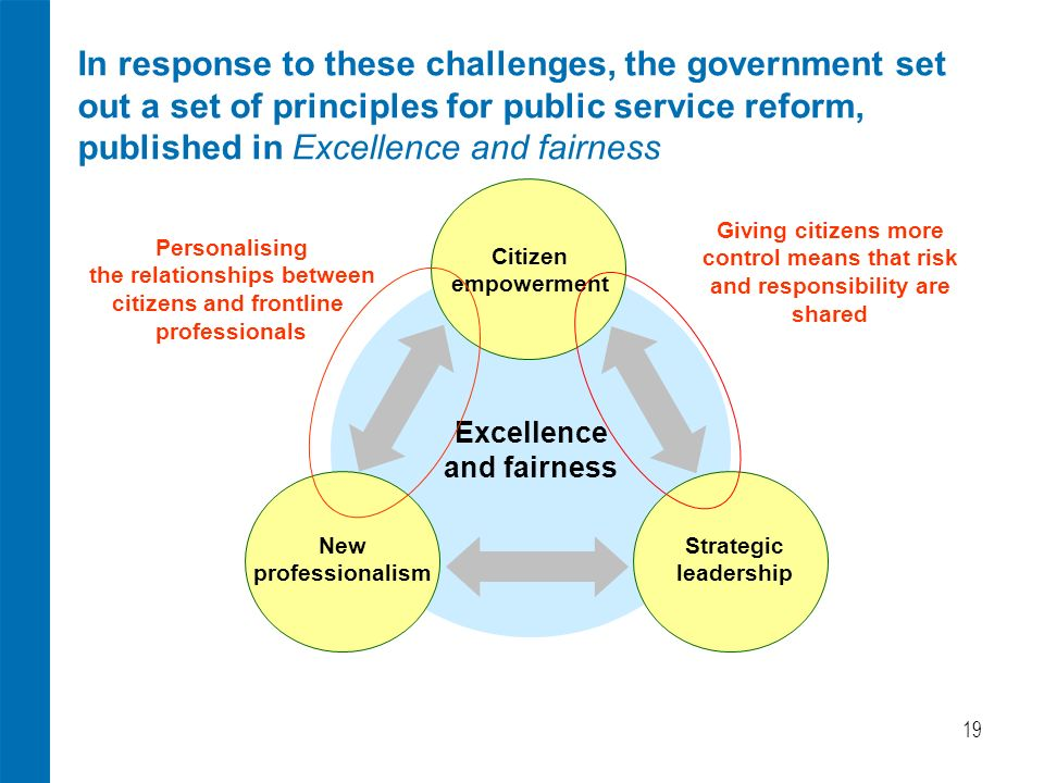 19 In response to these challenges, the government set out a set of principles for public service reform, published in Excellence and fairness Citizen empowerment New professionalism Strategic leadership Excellence and fairness Personalising the relationships between citizens and frontline professionals Giving citizens more control means that risk and responsibility are shared