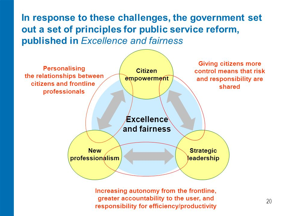 20 In response to these challenges, the government set out a set of principles for public service reform, published in Excellence and fairness Citizen empowerment New professionalism Strategic leadership Excellence and fairness Personalising the relationships between citizens and frontline professionals Giving citizens more control means that risk and responsibility are shared Increasing autonomy from the frontline, greater accountability to the user, and responsibility for efficiency/productivity