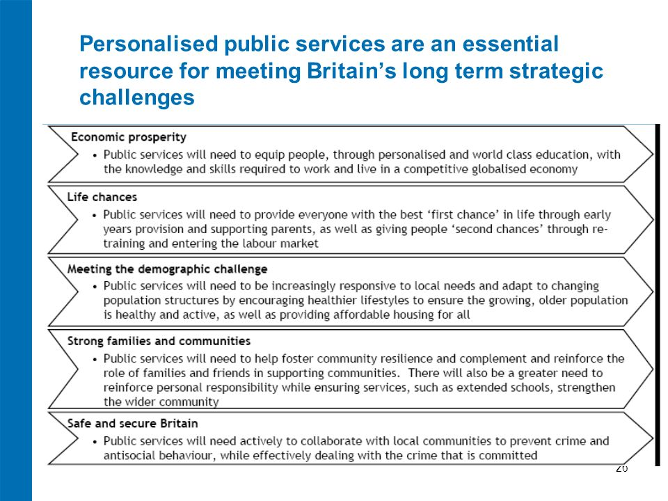 26 Personalised public services are an essential resource for meeting Britains long term strategic challenges Bullets
