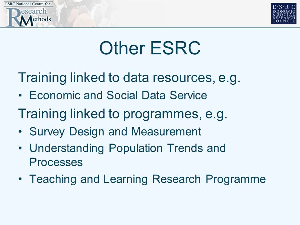 Other ESRC Training linked to data resources, e.g.