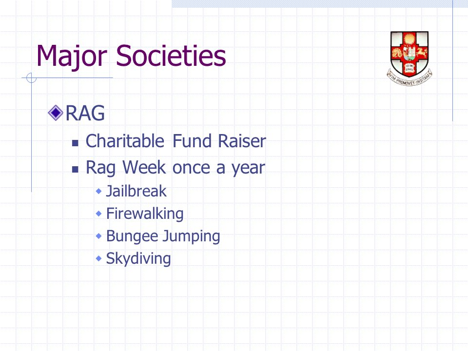 Major Societies RAG Charitable Fund Raiser Rag Week once a year Jailbreak Firewalking Bungee Jumping Skydiving