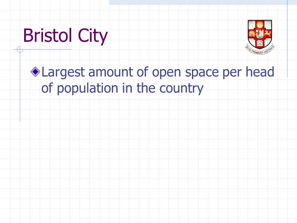 Bristol City Largest amount of open space per head of population in the country