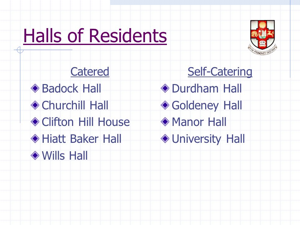 Halls of Residents Catered Badock Hall Churchill Hall Clifton Hill House Hiatt Baker Hall Wills Hall Self-Catering Durdham Hall Goldeney Hall Manor Hall University Hall