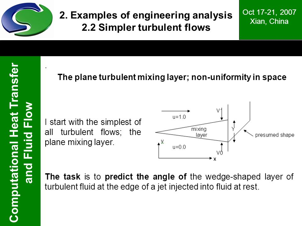 Computational Heat Transfer and Fluid Flow Oct 17-21, 2007 Xian, China The plane turbulent mixing layer; non-uniformity in space 2.