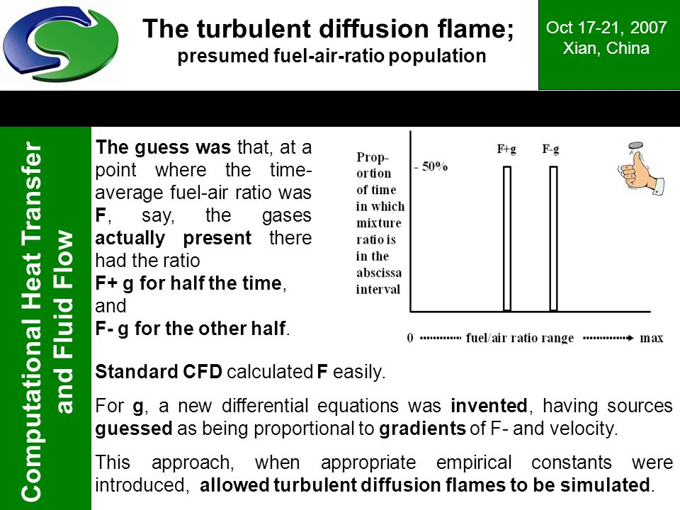 Computational Heat Transfer and Fluid Flow Oct 17-21, 2007 Xian, China The turbulent diffusion flame; presumed fuel-air-ratio population The guess was