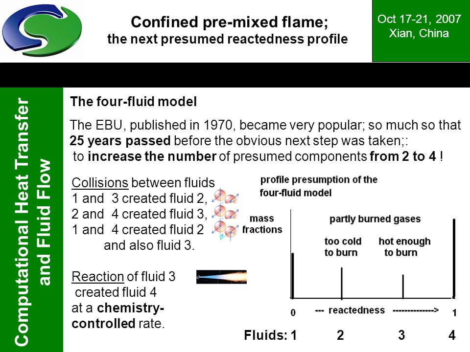 Computational Heat Transfer and Fluid Flow Oct 17-21, 2007 Xian, China Confined pre-mixed flame; the next presumed reactedness profile The four-fluid model The EBU, published in 1970, became very popular; so much so that 25 years passed before the obvious next step was taken;: to increase the number of presumed components from 2 to 4 .