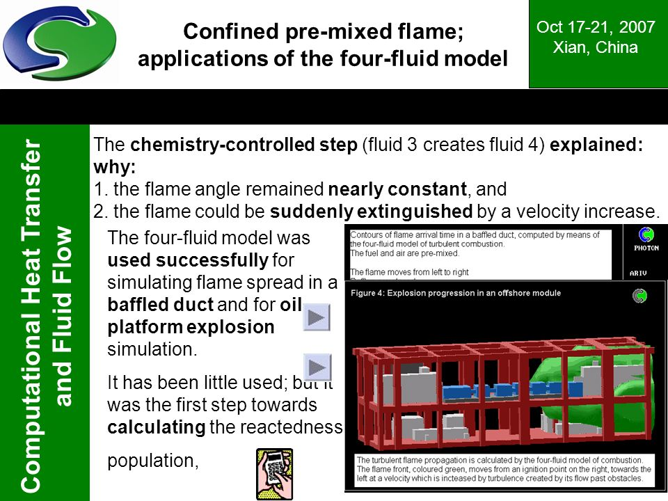 Computational Heat Transfer and Fluid Flow Oct 17-21, 2007 Xian, China Confined pre-mixed flame; applications of the four-fluid model The chemistry-co