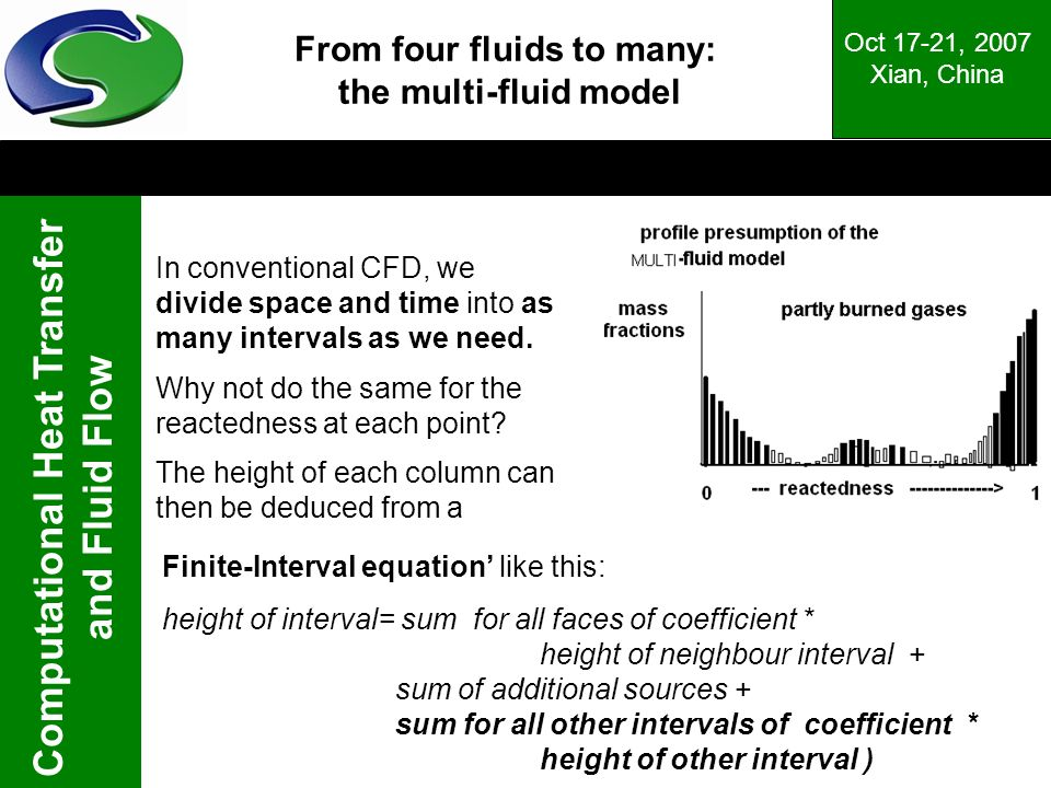 Computational Heat Transfer and Fluid Flow Oct 17-21, 2007 Xian, China In conventional CFD, we divide space and time into as many intervals as we need