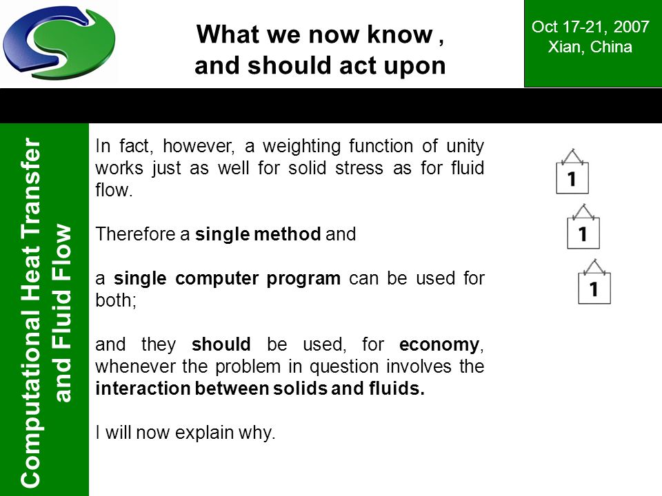 Computational Heat Transfer and Fluid Flow Oct 17-21, 2007 Xian, China What we now know, and should act upon In fact, however, a weighting function of