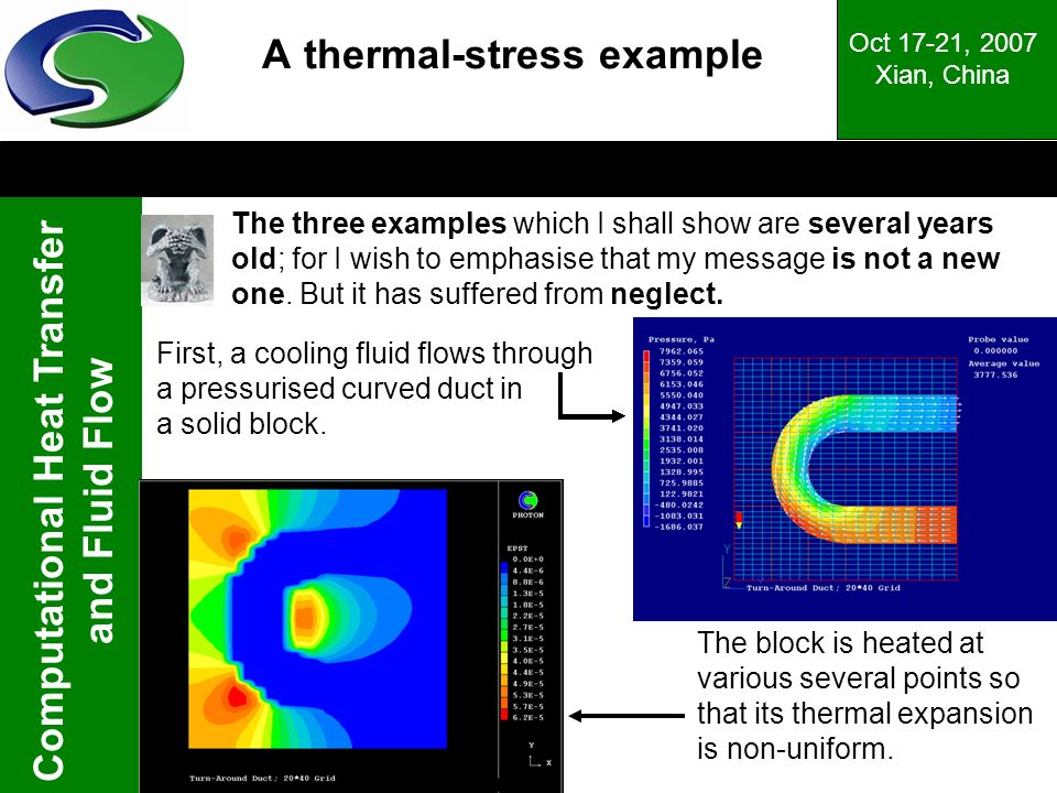 Computational Heat Transfer and Fluid Flow Oct 17-21, 2007 Xian, China The block is heated at various several points so that its thermal expansion is non-uniform.
