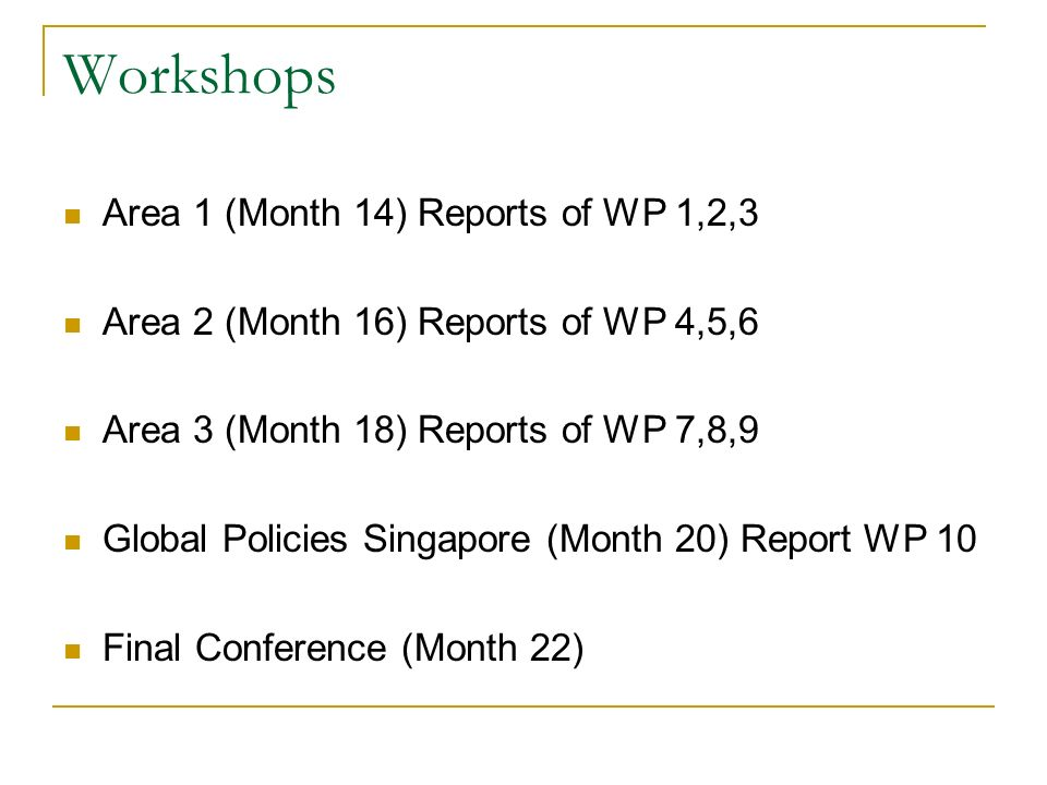Workshops Area 1 (Month 14) Reports of WP 1,2,3 Area 2 (Month 16) Reports of WP 4,5,6 Area 3 (Month 18) Reports of WP 7,8,9 Global Policies Singapore (Month 20) Report WP 10 Final Conference (Month 22)