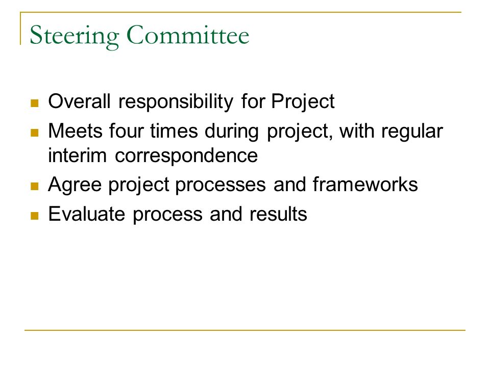 Steering Committee Overall responsibility for Project Meets four times during project, with regular interim correspondence Agree project processes and frameworks Evaluate process and results
