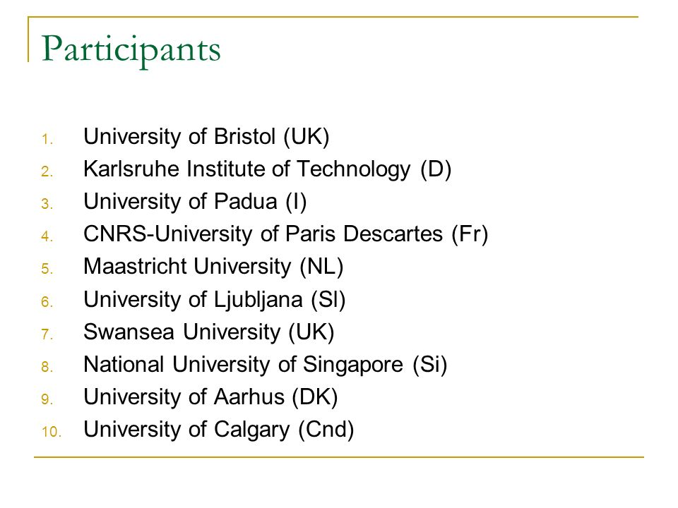 Participants 1. University of Bristol (UK) 2. Karlsruhe Institute of Technology (D) 3.