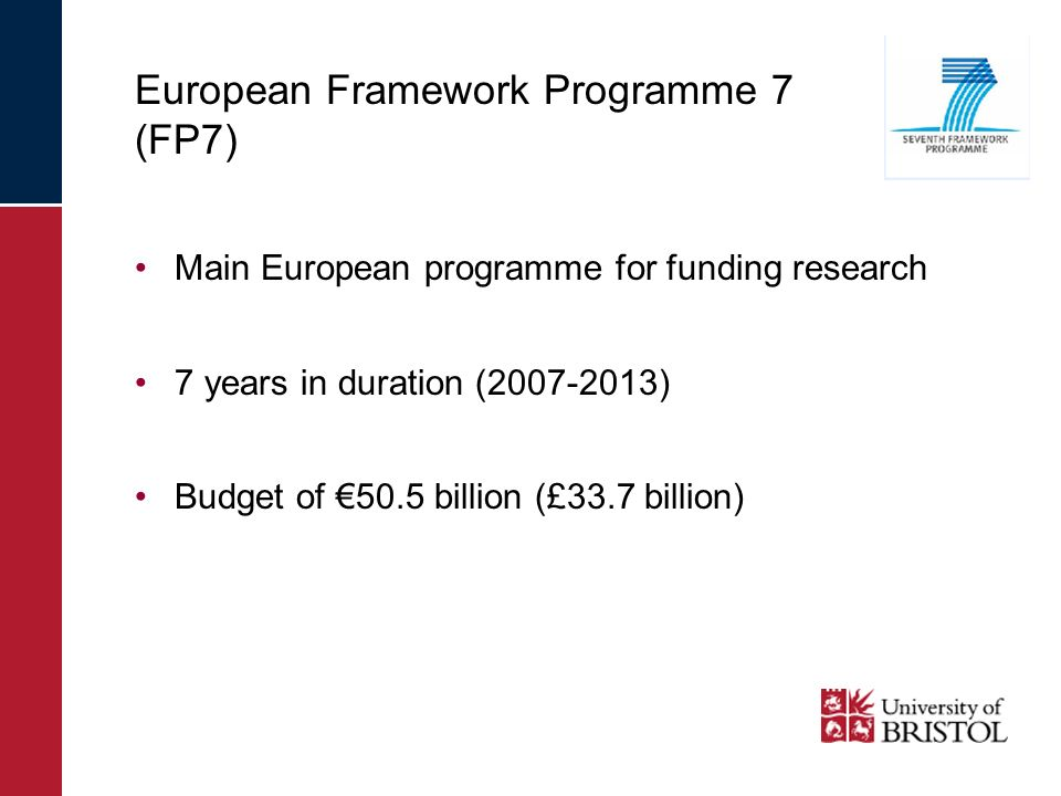 European Framework Programme 7 (FP7) Main European programme for funding research 7 years in duration (2007-2013) Budget of 50.5 billion (£33.7 billio