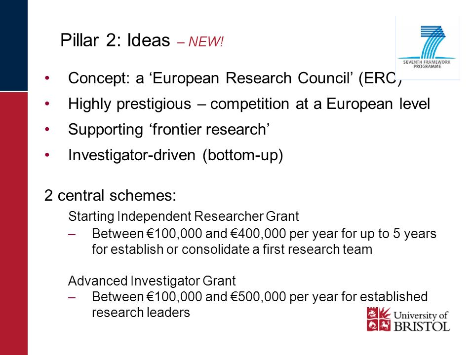 Concept: a European Research Council (ERC) Highly prestigious – competition at a European level Supporting frontier research Investigator-driven (bott