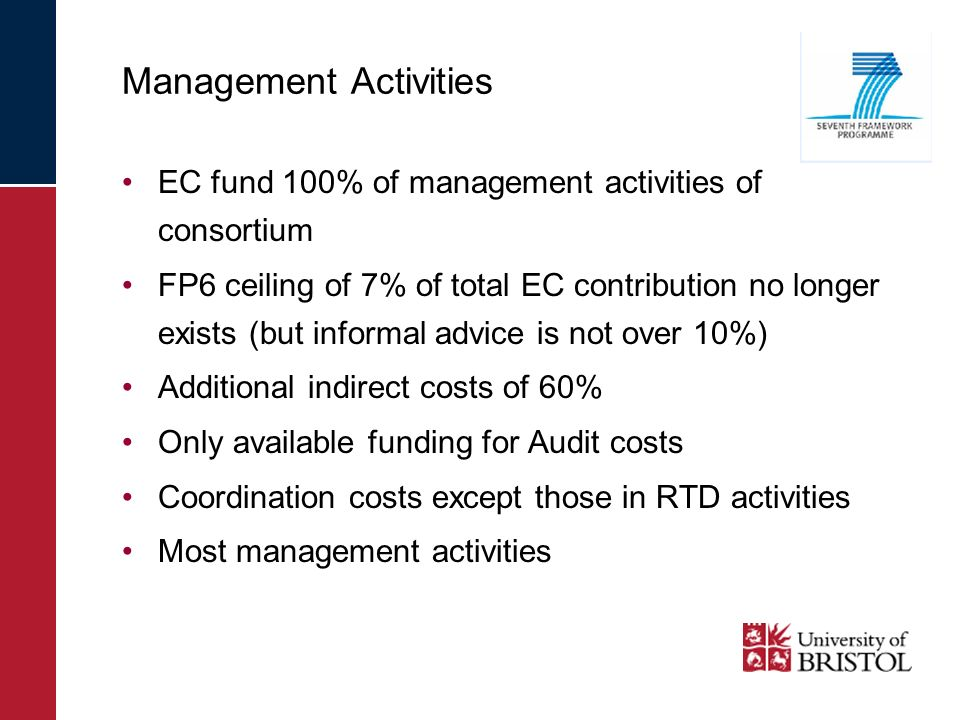 Management Activities EC fund 100% of management activities of consortium FP6 ceiling of 7% of total EC contribution no longer exists (but informal ad