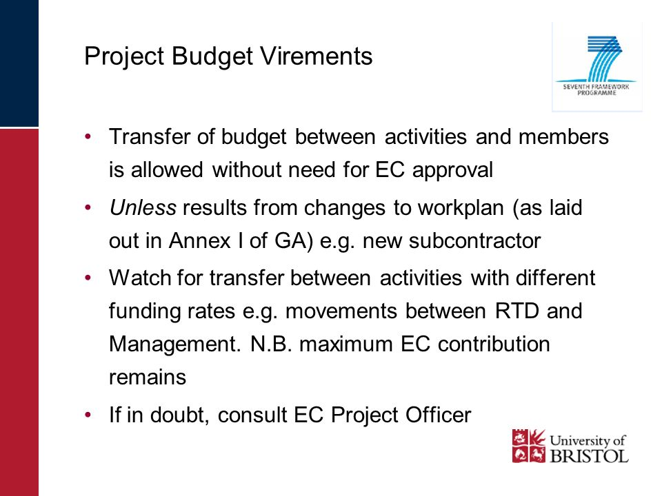Project Budget Virements Transfer of budget between activities and members is allowed without need for EC approval Unless results from changes to work