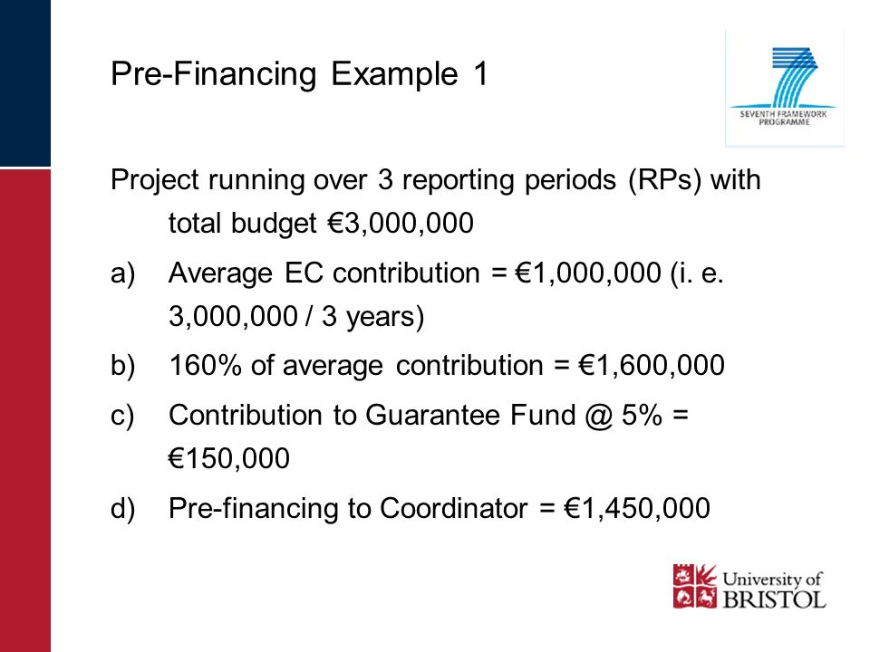 Pre-Financing Example 1 Project running over 3 reporting periods (RPs) with total budget 3,000,000 a)Average EC contribution = 1,000,000 (i. e. 3,000,