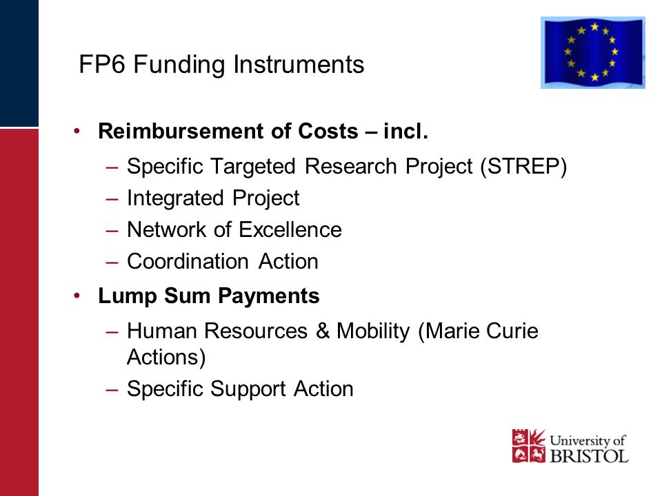 FP6 Funding Instruments Reimbursement of Costs – incl. –Specific Targeted Research Project (STREP) –Integrated Project –Network of Excellence –Coordin