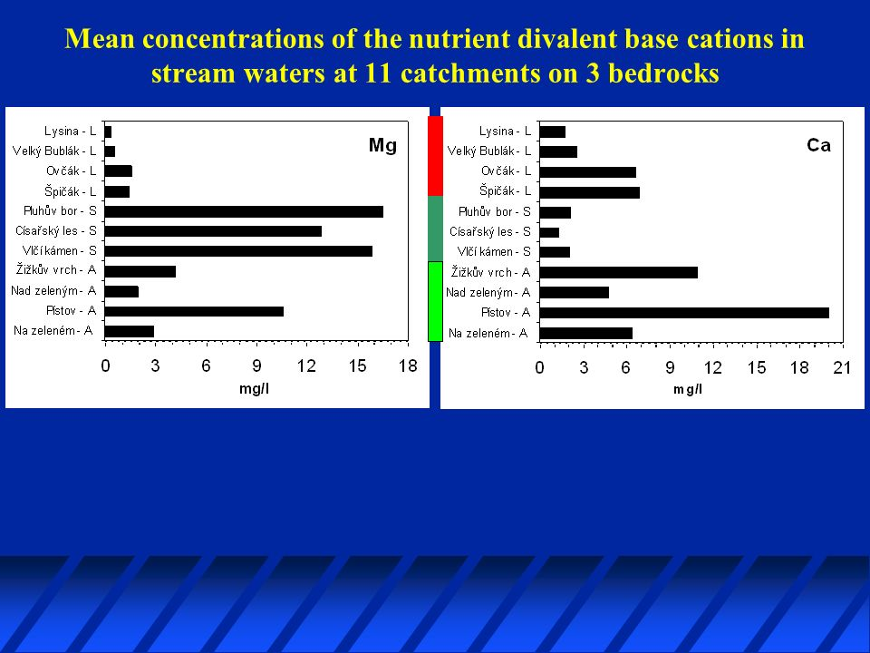 Mean concentrations of the nutrient divalent base cations in stream waters at 11 catchments on 3 bedrocks