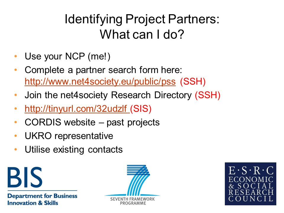Identifying Project Partners: What can I do.