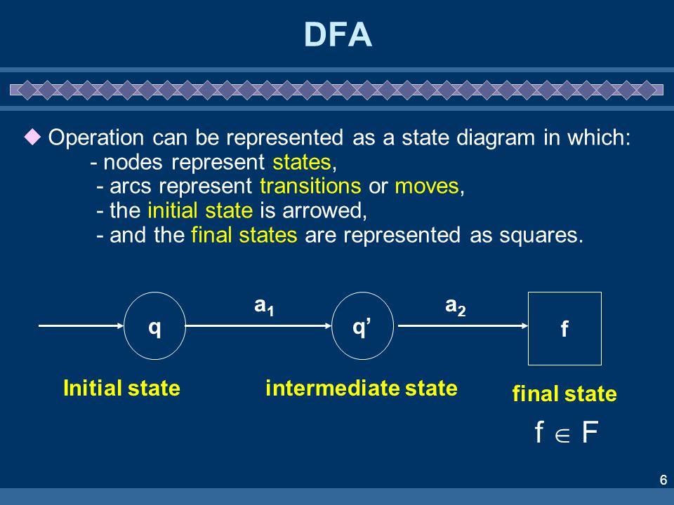 6 DFA Operation can be represented as a state diagram in which: - nodes represent states, - arcs represent transitions or moves, - the initial state i