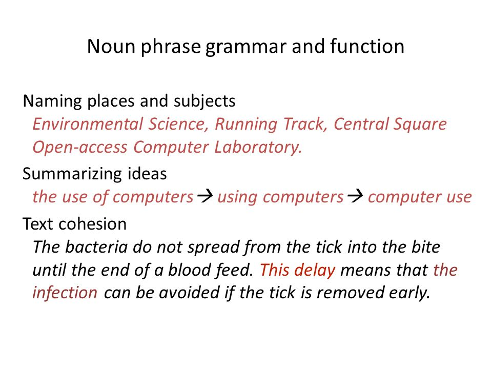 Noun phrase grammar and function Naming places and subjects Environmental Science, Running Track, Central Square Open-access Computer Laboratory. Summ