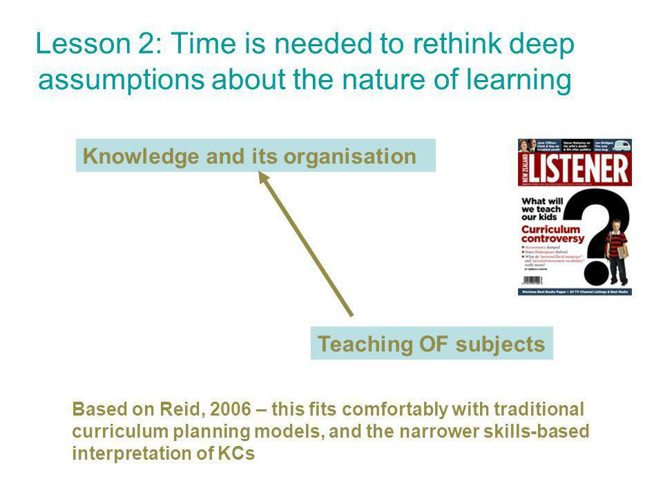 Lesson 2: Time is needed to rethink deep assumptions about the nature of learning Knowledge and its organisation Teaching OF subjects Based on Reid, 2006 – this fits comfortably with traditional curriculum planning models, and the narrower skills-based interpretation of KCs