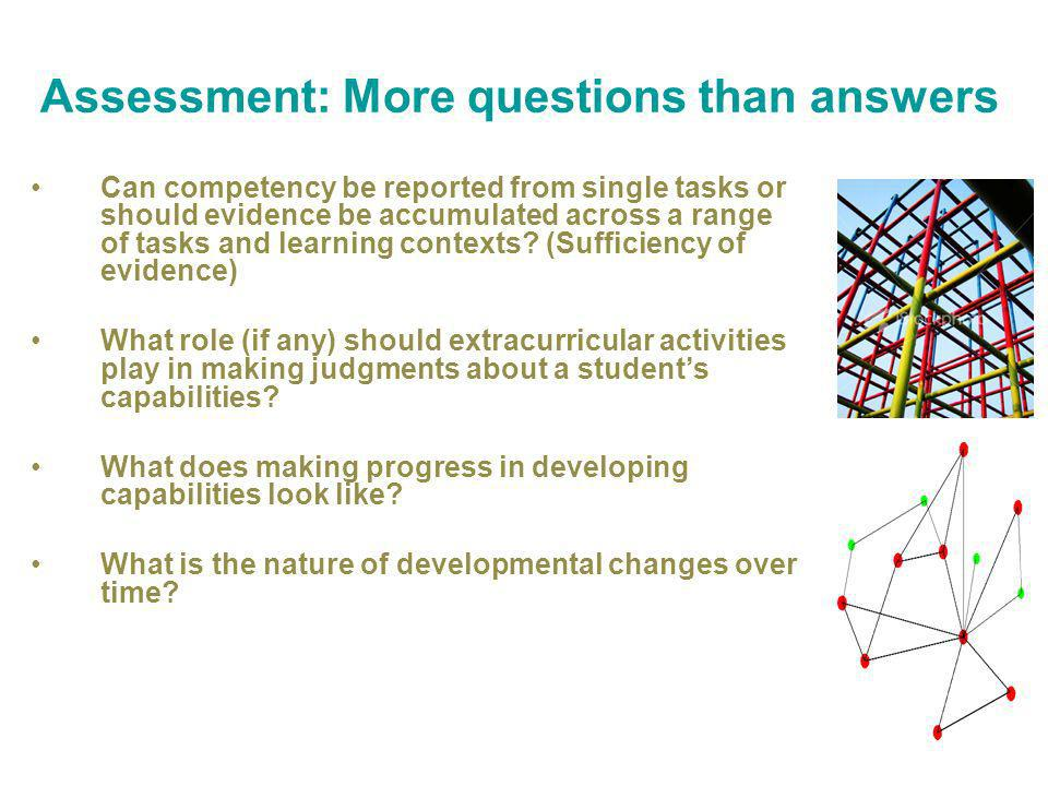 Assessment: More questions than answers Can competency be reported from single tasks or should evidence be accumulated across a range of tasks and learning contexts.
