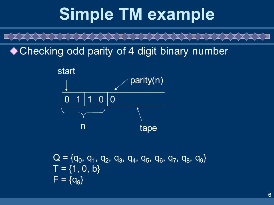 6 Simple TM example Checking odd parity of 4 digit binary number Q = {q 0, q 1, q 2, q 3, q 4, q 5, q 6, q 7, q 8, q 9 } T = {1, 0, b} F = {q 9 } 01100 parity(n) n tape start