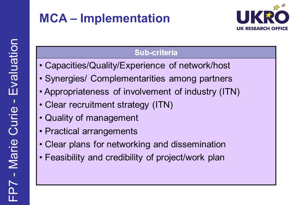 MCA – Implementation FP7 - Marie Curie - Evaluation Sub-criteria Capacities/Quality/Experience of network/host Synergies/ Complementarities among partners Appropriateness of involvement of industry (ITN) Clear recruitment strategy (ITN) Quality of management Practical arrangements Clear plans for networking and dissemination Feasibility and credibility of project/work plan