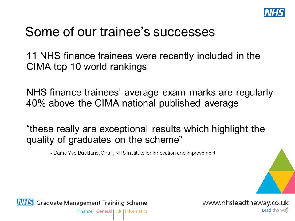 Its not work, its life 11 NHS finance trainees were recently included in the CIMA top 10 world rankings NHS finance trainees average exam marks are re