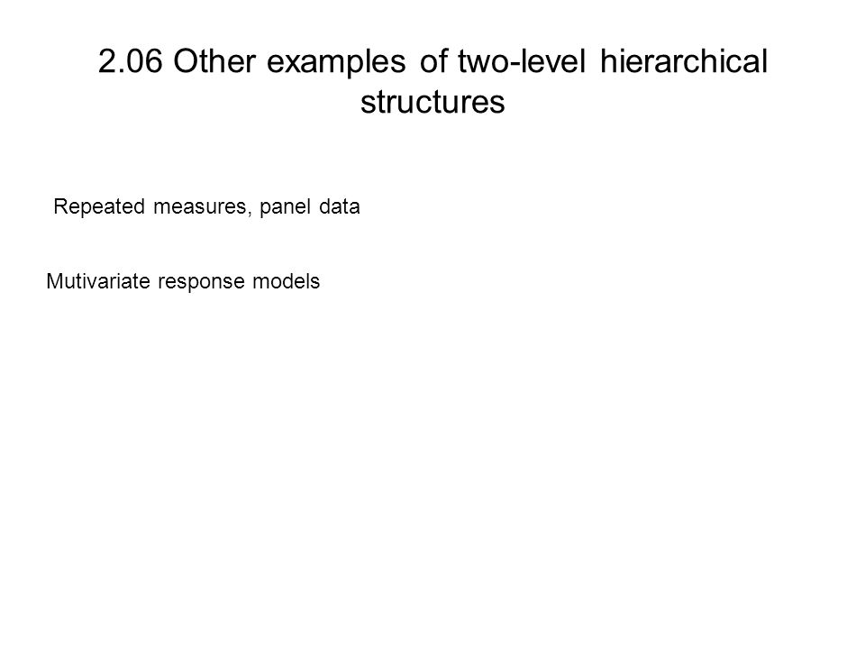 2.06 Other examples of two-level hierarchical structures Repeated measures, panel data Mutivariate response models