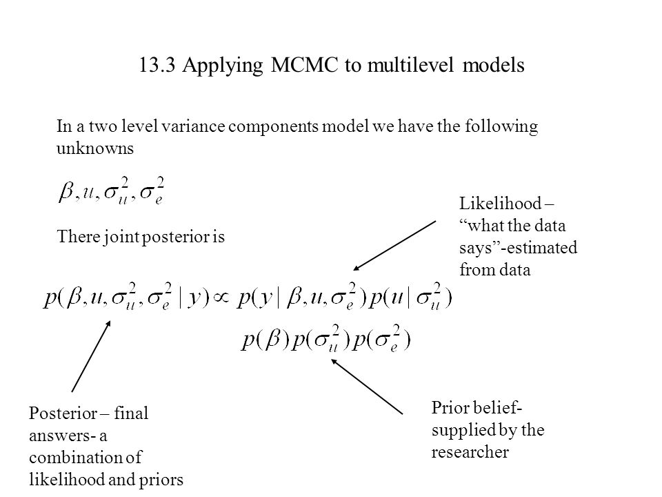 13.3 Applying MCMC to multilevel models In a two level variance components model we have the following unknowns There joint posterior is Likelihood –