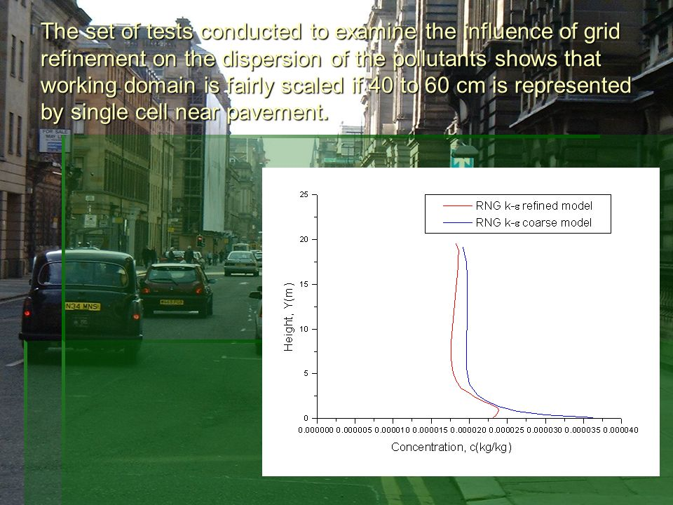 The set of tests conducted to examine the influence of grid refinement on the dispersion of the pollutants shows that working domain is fairly scaled if 40 to 60 cm is represented by single cell near pavement.