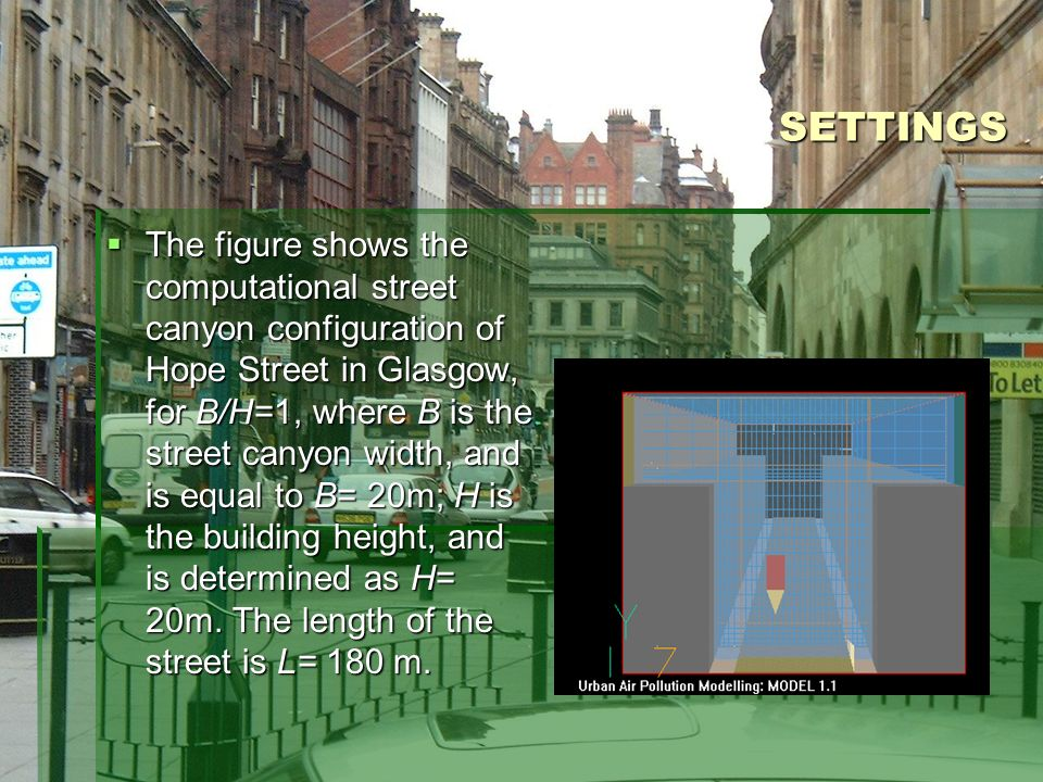 SETTINGS The figure shows the computational street canyon configuration of Hope Street in Glasgow, for B/H=1, where B is the street canyon width, and is equal to B= 20m; H is the building height, and is determined as H= 20m.
