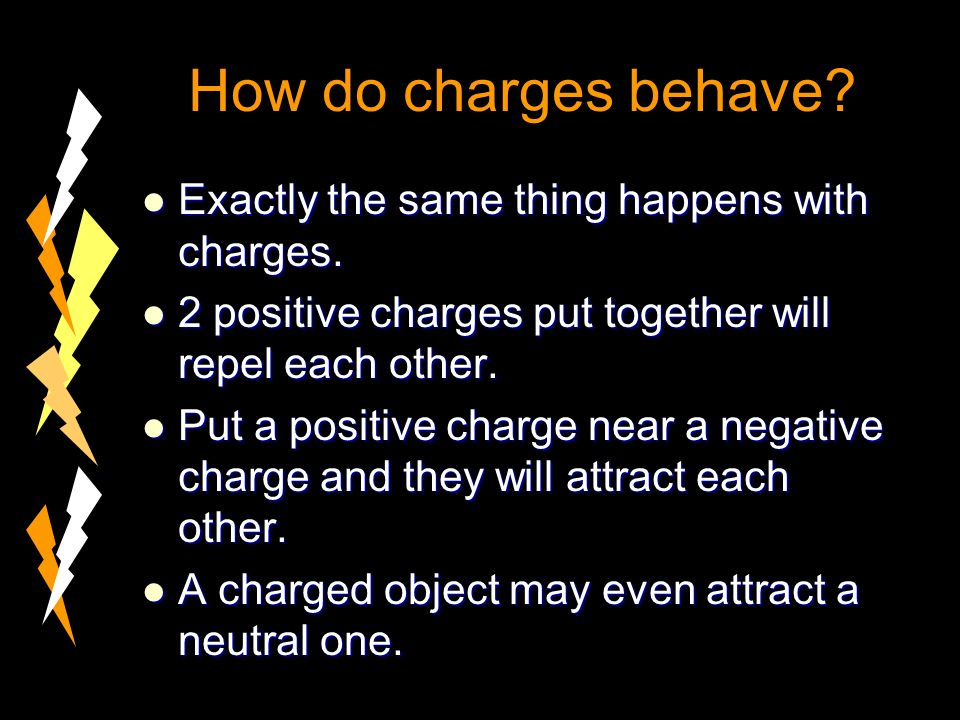 How do charges behave. Exactly the same thing happens with charges.