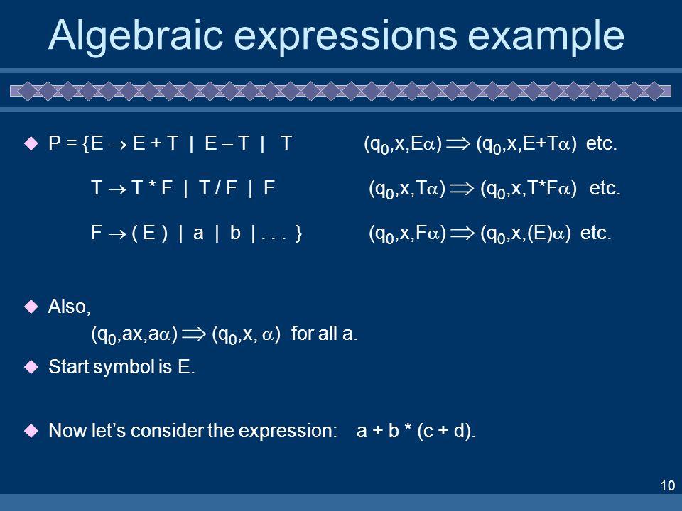 10 Algebraic expressions example P = {E E + T | E – T | T (q 0,x,E ) (q 0,x,E+T ) etc.
