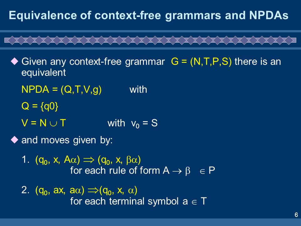 7 Equivalence of context-free grammars and NPDAs Thus, if a non-terminal symbol A is on top of the stack, it must be replaced by all the symbols on the right-hand-side of a rule which has A on the left-hand-side, but the choice of rule is not determined.