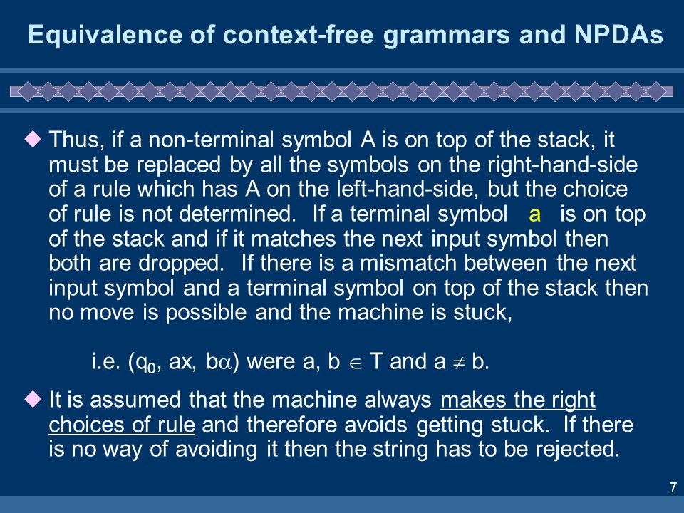 8 Propositional Logic Example Grammar: Automaton: (the start symbol for this grammar) 1.