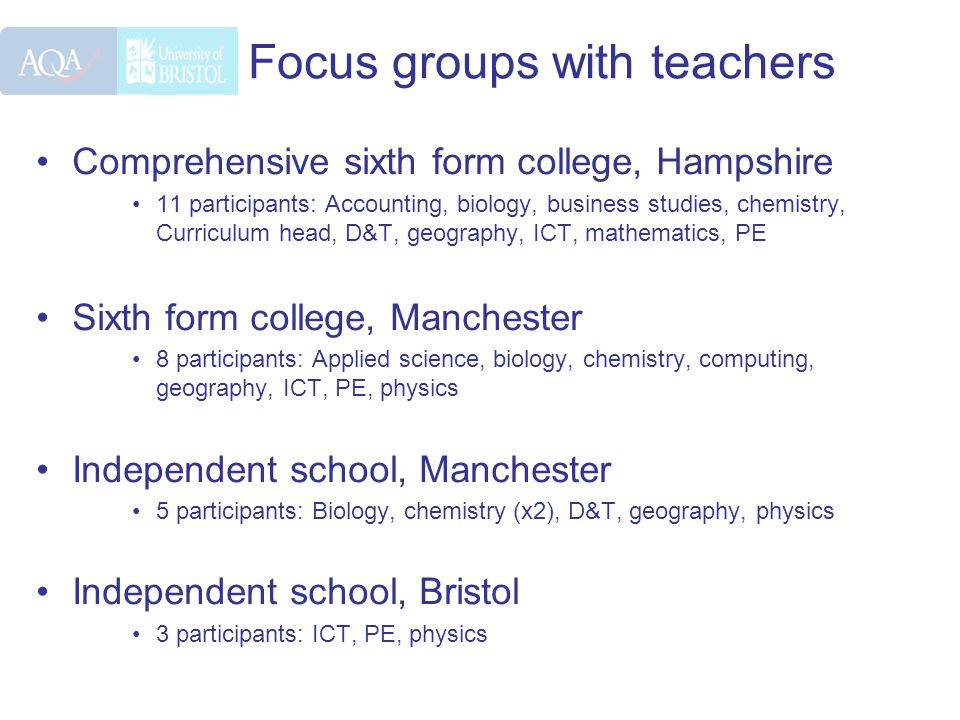 Focus groups with teachers Comprehensive sixth form college, Hampshire 11 participants: Accounting, biology, business studies, chemistry, Curriculum h