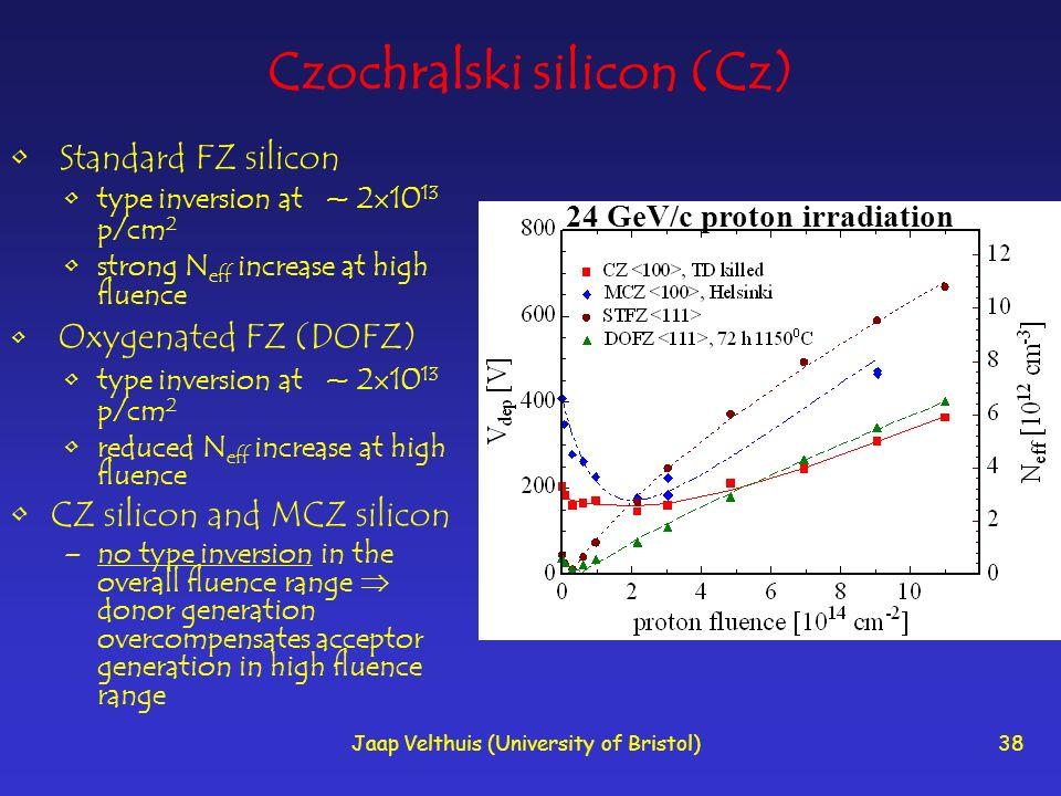 Jaap Velthuis (University of Bristol)38 Czochralski silicon (Cz) Standard FZ silicon type inversion at ~ 2 10 13 p/cm 2 strong N eff increase at high fluence Oxygenated FZ (DOFZ) type inversion at ~ 2 10 13 p/cm 2 reduced N eff increase at high fluence CZ silicon and MCZ silicon –no type inversion in the overall fluence range donor generation overcompensates acceptor generation in high fluence range 24 GeV/c proton irradiation