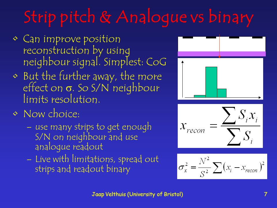 Jaap Velthuis (University of Bristol)7 Strip pitch & Analogue vs binary Can improve position reconstruction by using neighbour signal.