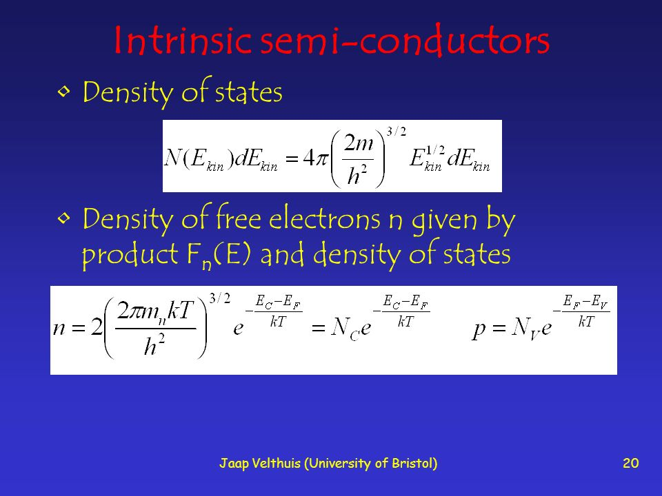Jaap Velthuis (University of Bristol)20 Intrinsic semi-conductors Density of states Density of free electrons n given by product F n (E) and density o