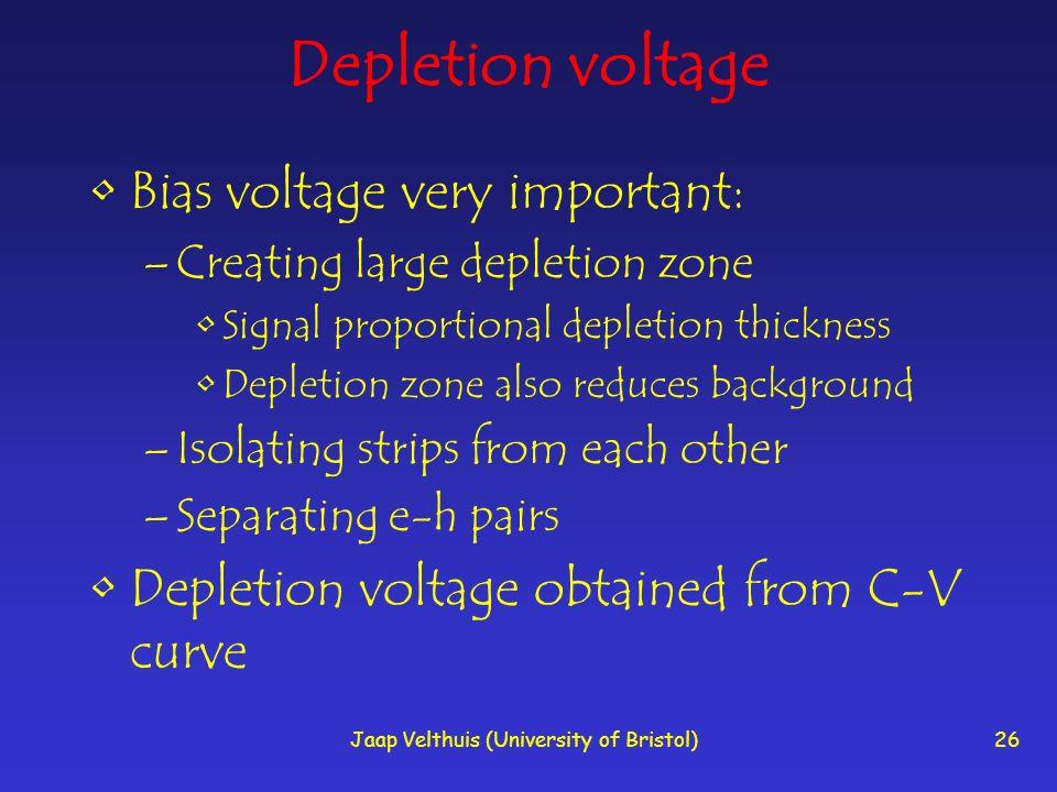 Jaap Velthuis (University of Bristol)26 Depletion voltage Bias voltage very important: –Creating large depletion zone Signal proportional depletion th